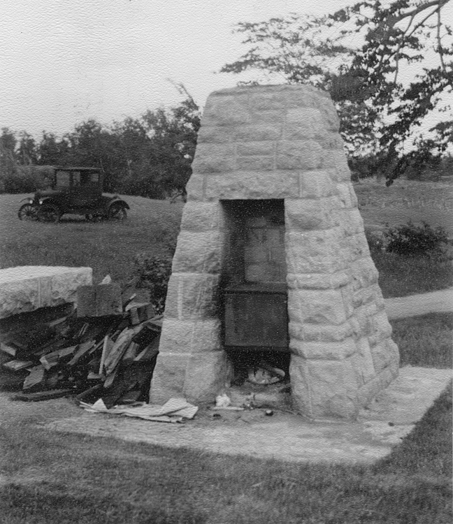 Beehive fireplace at Blazer Park on Lilac Way, black and white photo