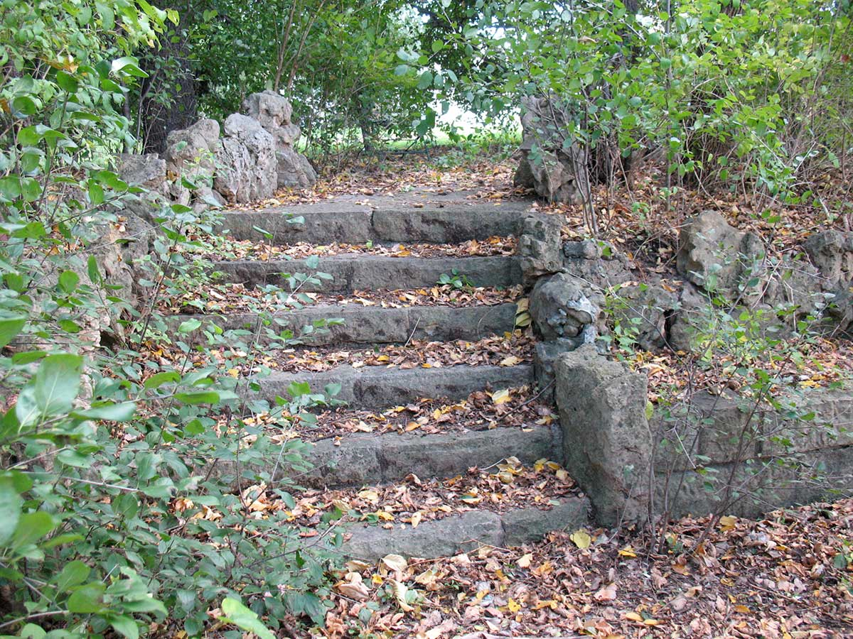 Limestone steps at the original Lilac Park on Highway 100 and Minnetonka Boulevard